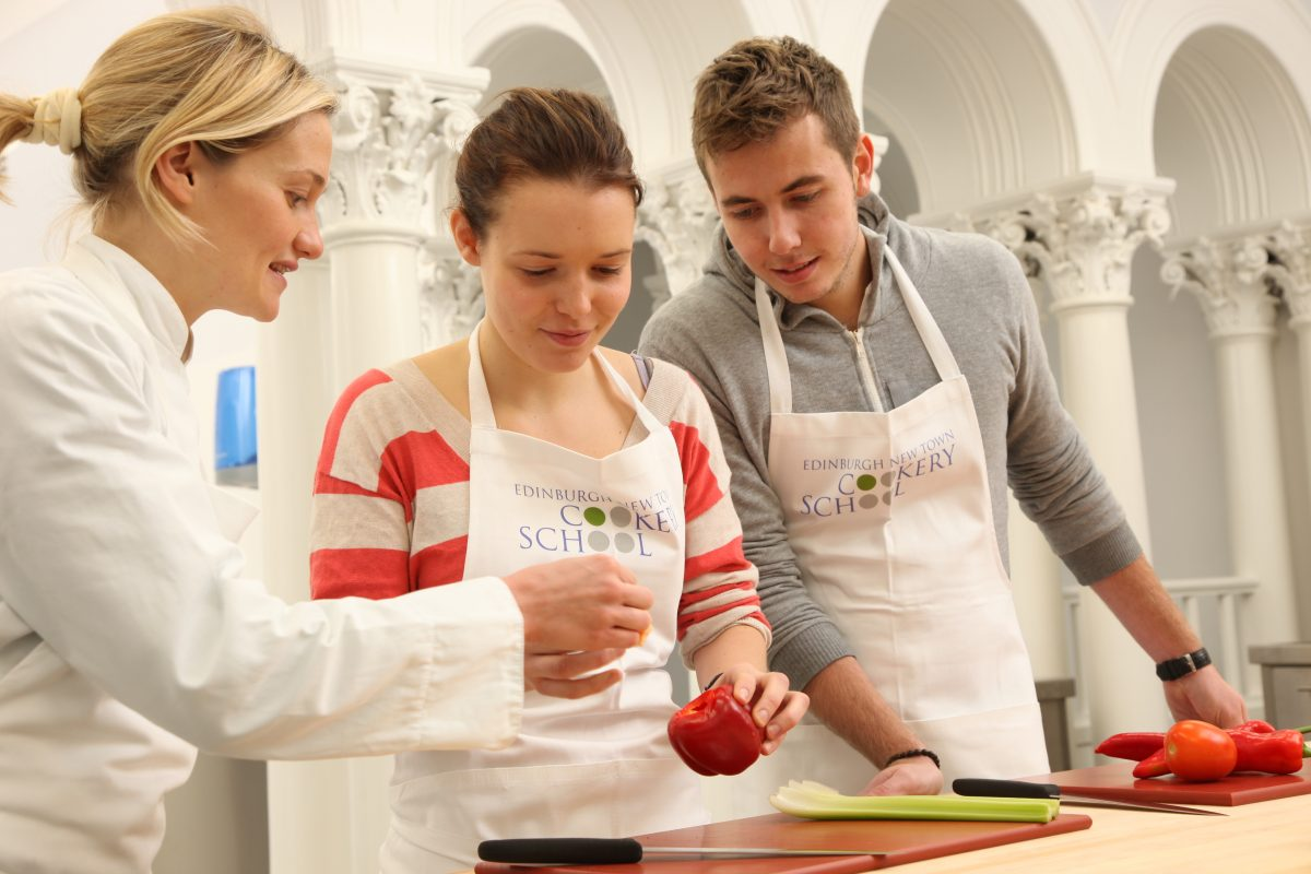 Culinary school Edinburgh showing preparation of food during cooking course