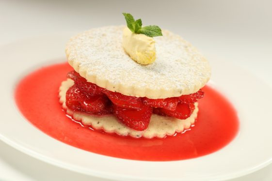 Redcurrant Soaked Strawberries with Cracked Black Pepper Biscuits